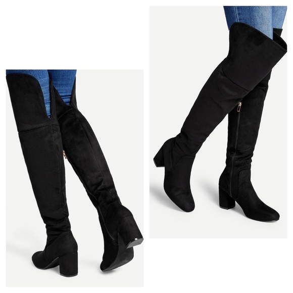 Shoes - Luxurious Faux Suede Thigh High Boot